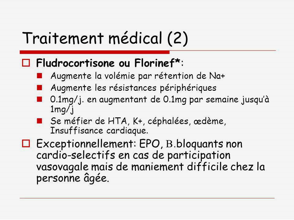 Traitement médical (2) Fludrocortisone ou Florinef*: Augmente la volémie par rétention de Na+ Augmente les résistances périphériques 0.1mg/j. en augme