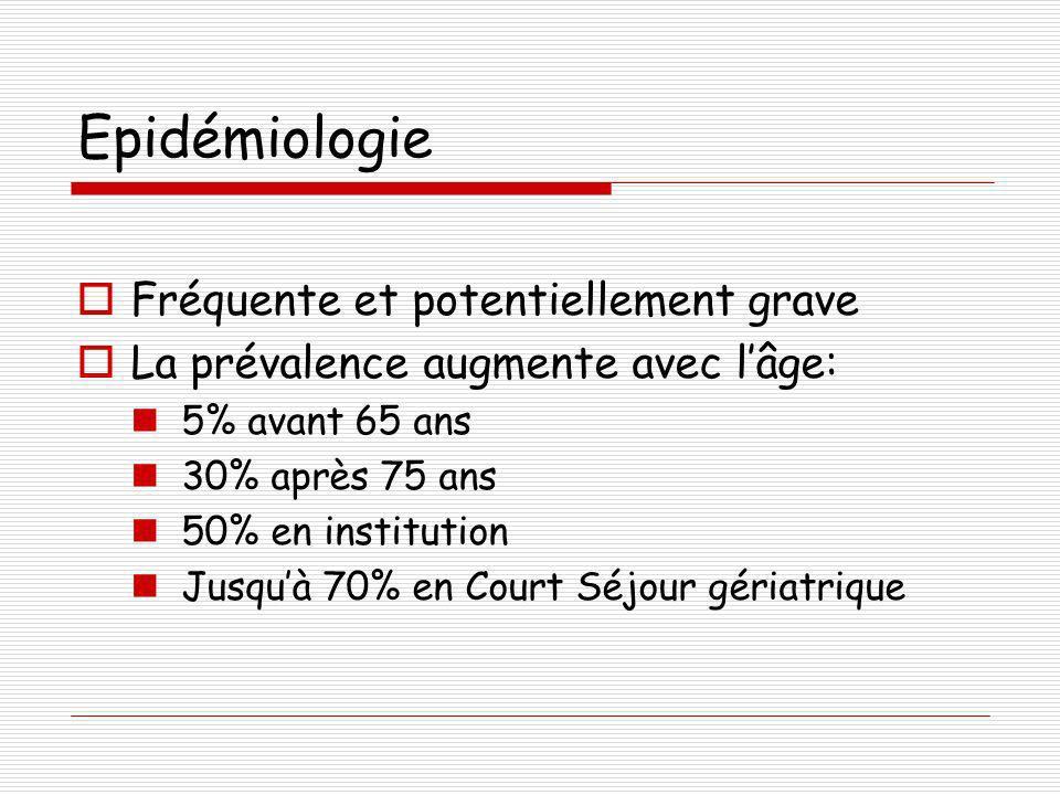 Epidémiologie Fréquente et potentiellement grave La prévalence augmente avec lâge: 5% avant 65 ans 30% après 75 ans 50% en institution Jusquà 70% en C