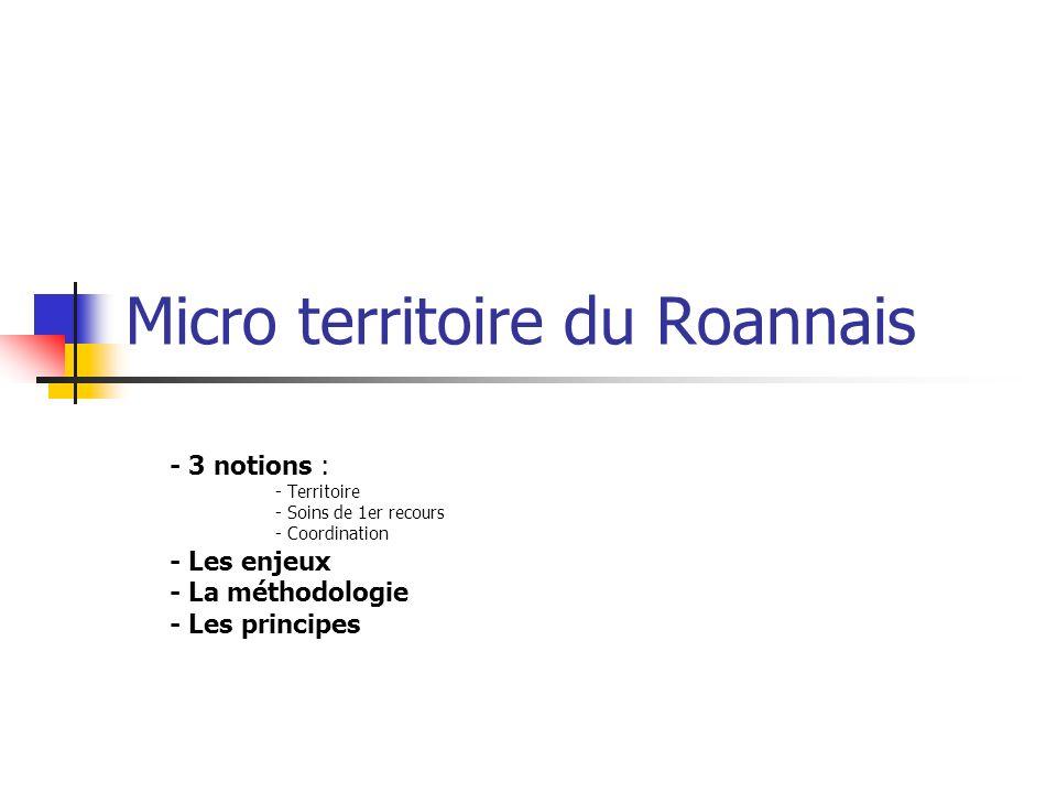 Micro territoire du Roannais - 3 notions : - Territoire - Soins de 1er recours - Coordination - Les enjeux - La méthodologie - Les principes