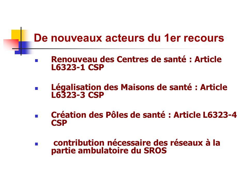 De nouveaux acteurs du 1er recours Renouveau des Centres de santé : Article L6323-1 CSP Légalisation des Maisons de santé : Article L6323-3 CSP Créati