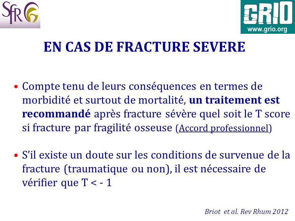 EN CAS DE FRACTURE SEVERE Compte tenu de leurs conséquences en termes de morbidité et surtout de mortalité, un traitement est recommandé après fractur