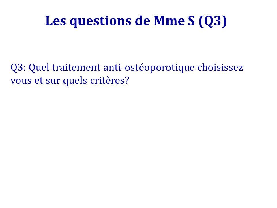 Les questions de Mme S (Q3) Q3: Quel traitement anti-ostéoporotique choisissez vous et sur quels critères?