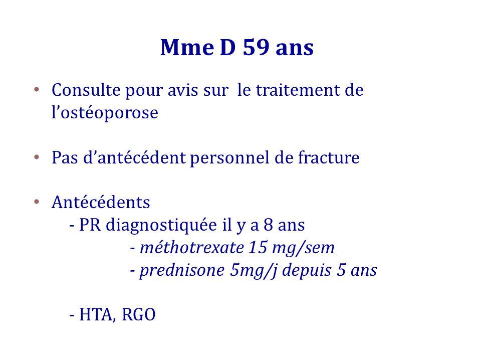 Mme D 59 ans Consulte pour avis sur le traitement de lostéoporose Pas dantécédent personnel de fracture Antécédents - PR diagnostiquée il y a 8 ans -