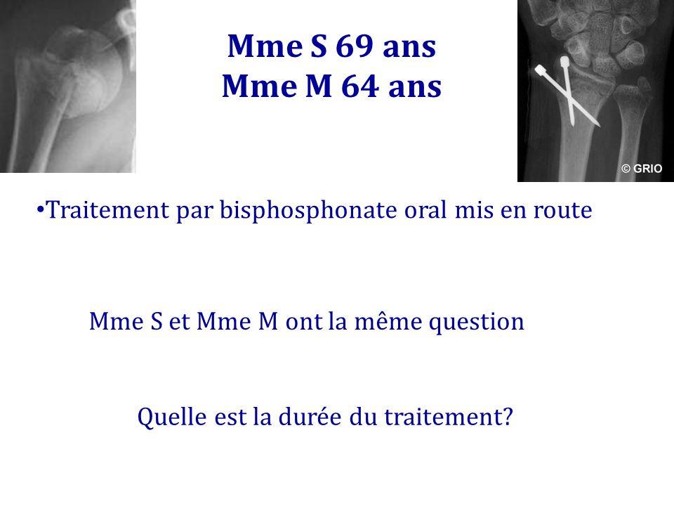 Mme S 69 ans Mme M 64 ans Traitement par bisphosphonate oral mis en route Mme S et Mme M ont la même question Quelle est la durée du traitement?
