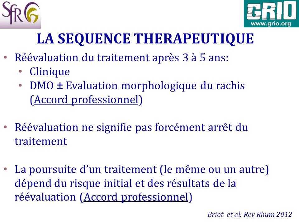 Réévaluation du traitement après 3 à 5 ans: Clinique DMO ± Evaluation morphologique du rachis (Accord professionnel) Réévaluation ne signifie pas forc