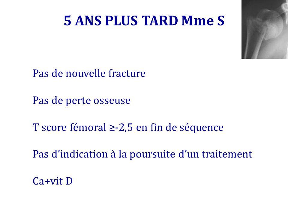 5 ANS PLUS TARD Mme S Pas de nouvelle fracture Pas de perte osseuse T score fémoral -2,5 en fin de séquence Pas dindication à la poursuite dun traitem
