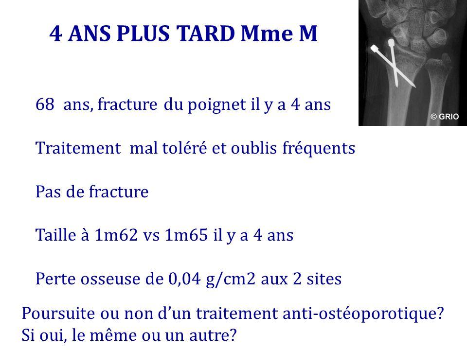 4 ANS PLUS TARD Mme M 68 ans, fracture du poignet il y a 4 ans Traitement mal toléré et oublis fréquents Pas de fracture Taille à 1m62 vs 1m65 il y a