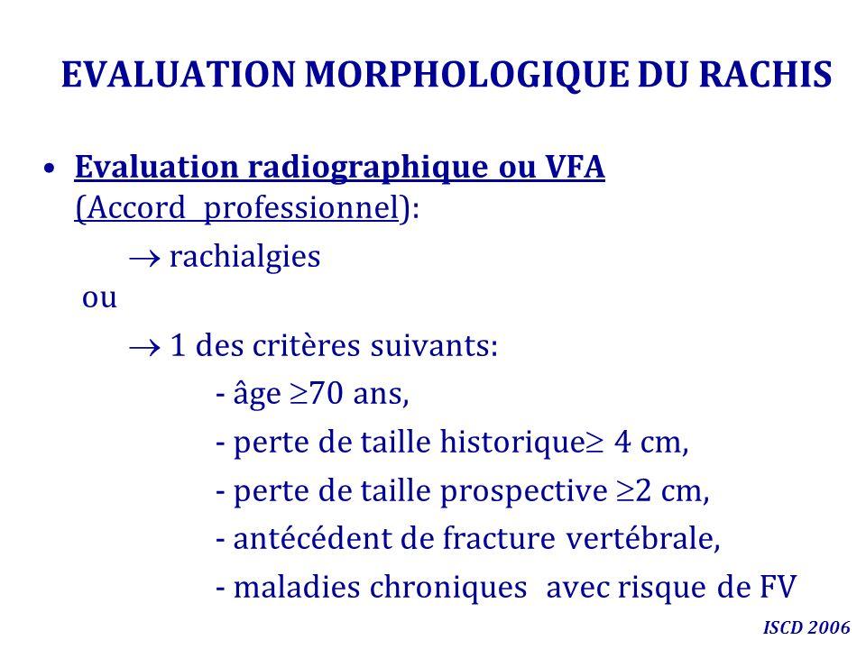 EVALUATION MORPHOLOGIQUE DU RACHIS Evaluation radiographique ou VFA (Accord professionnel): rachialgies ou 1 des critères suivants: - âge 70 ans, - pe