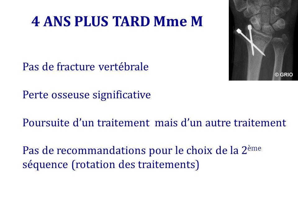 4 ANS PLUS TARD Mme M Pas de fracture vertébrale Perte osseuse significative Poursuite dun traitement mais dun autre traitement Pas de recommandations