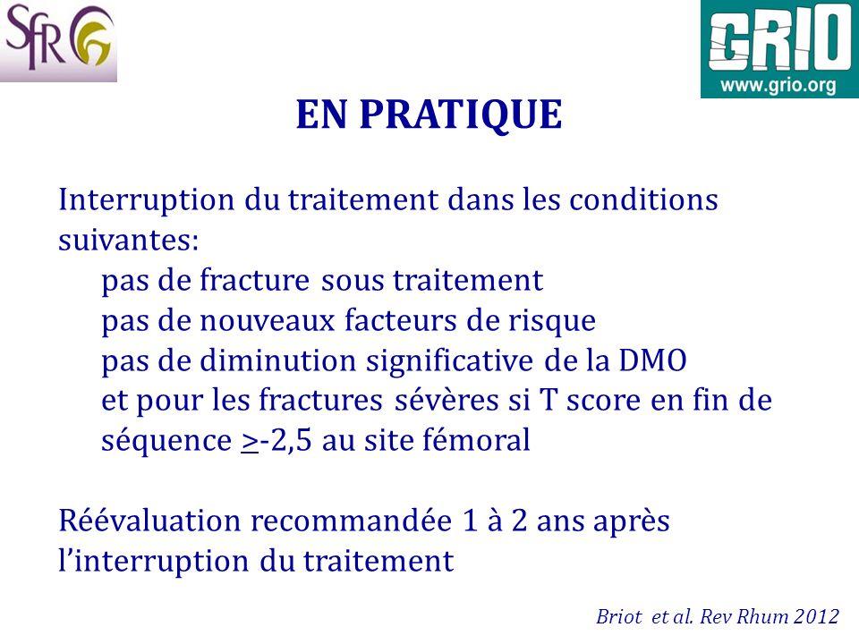 EN PRATIQUE Interruption du traitement dans les conditions suivantes: pas de fracture sous traitement pas de nouveaux facteurs de risque pas de diminu