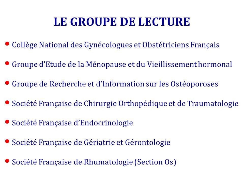 LE GROUPE DE LECTURE Collège National des Gynécologues et Obstétriciens Français Groupe dEtude de la Ménopause et du Vieillissement hormonal Groupe de