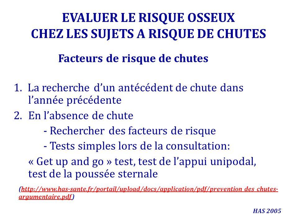 EVALUER LE RISQUE OSSEUX CHEZ LES SUJETS A RISQUE DE CHUTES 1. La recherche dun antécédent de chute dans lannée précédente 2.En labsence de chute - Re