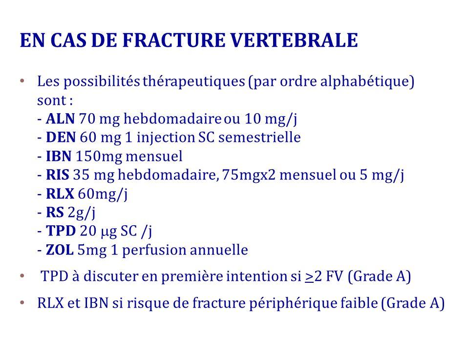 Les possibilités thérapeutiques (par ordre alphabétique) sont : - ALN 70 mg hebdomadaire ou 10 mg/j - DEN 60 mg 1 injection SC semestrielle - IBN 150m