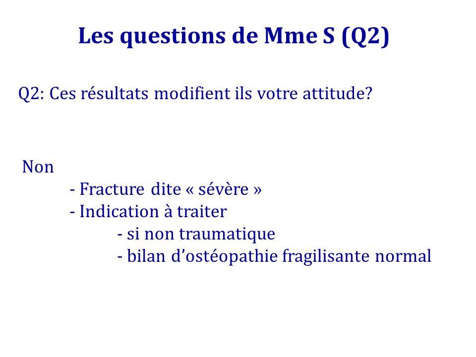 Q2: Ces résultats modifient ils votre attitude? Les questions de Mme S (Q2) Non - Fracture dite « sévère » - Indication à traiter - si non traumatique