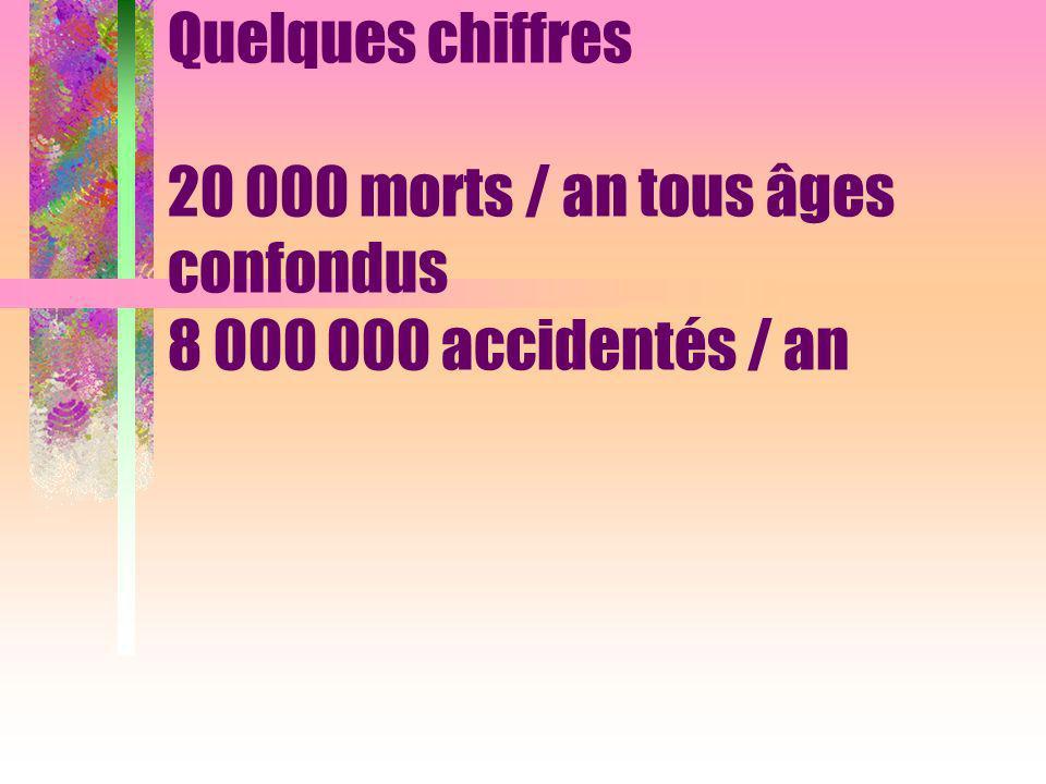 Quelques chiffres 20 000 morts / an tous âges confondus 8 000 000 accidentés / an