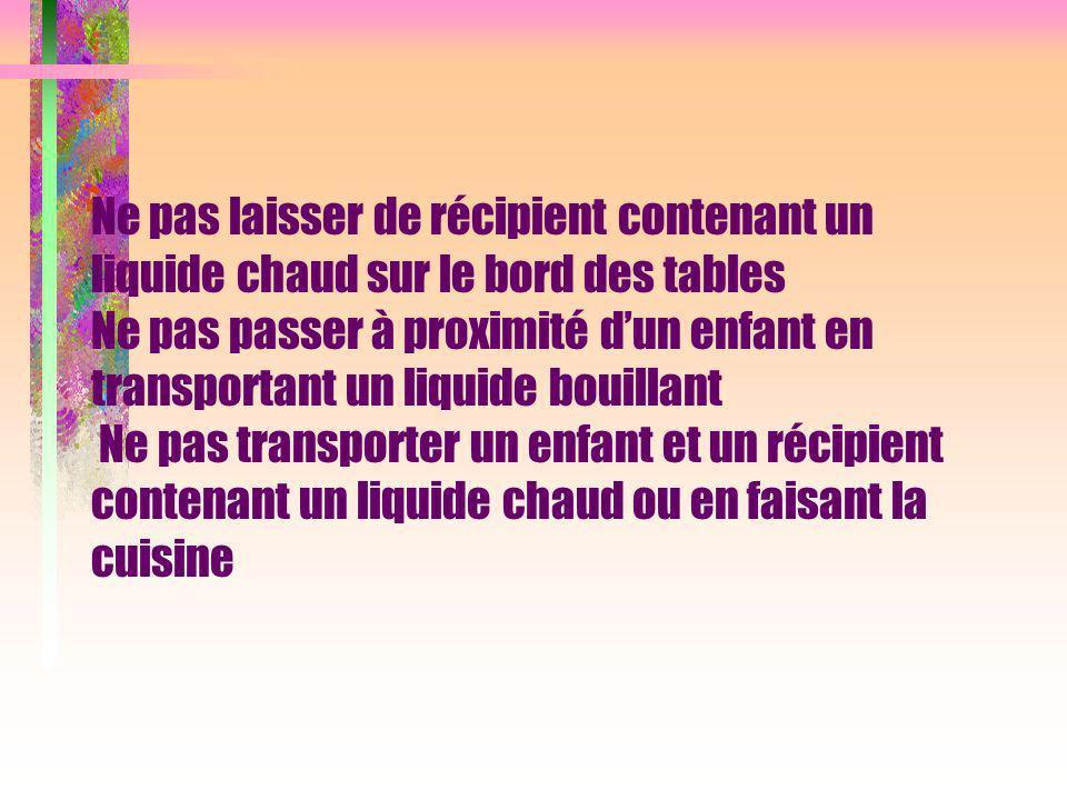Ne pas laisser de récipient contenant un liquide chaud sur le bord des tables Ne pas passer à proximité dun enfant en transportant un liquide bouillan