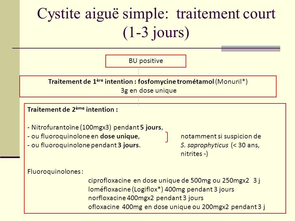Cystite aiguë simple: traitement court (1-3 jours) BU positive Traitement de 1 ère intention : fosfomycine trométamol (Monuril*) 3g en dose unique Tra