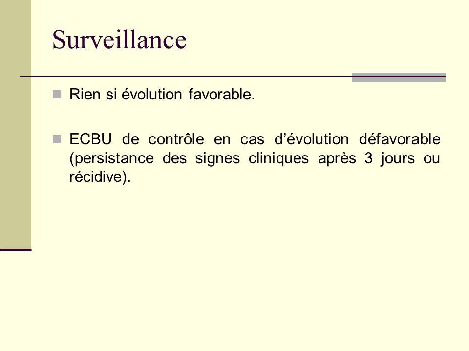 Surveillance Rien si évolution favorable. ECBU de contrôle en cas dévolution défavorable (persistance des signes cliniques après 3 jours ou récidive).