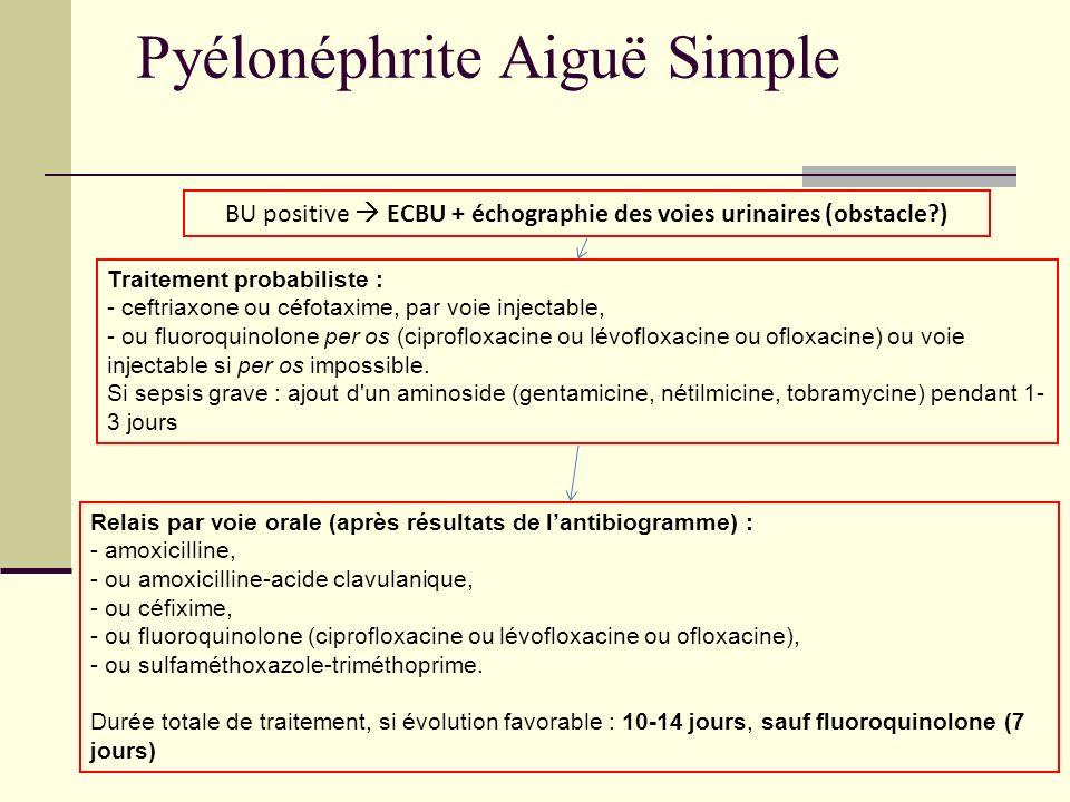 Pyélonéphrite Aiguë Simple BU positive ECBU + échographie des voies urinaires (obstacle?) Traitement probabiliste : - ceftriaxone ou céfotaxime, par v