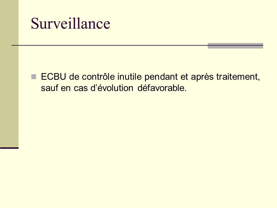Surveillance ECBU de contrôle inutile pendant et après traitement, sauf en cas dévolution défavorable.
