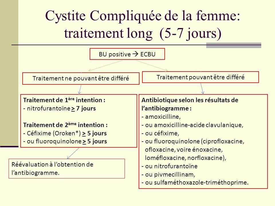 Cystite Compliquée de la femme: traitement long (5-7 jours) BU positive ECBU Traitement ne pouvant être différé Traitement pouvant être différé Traite