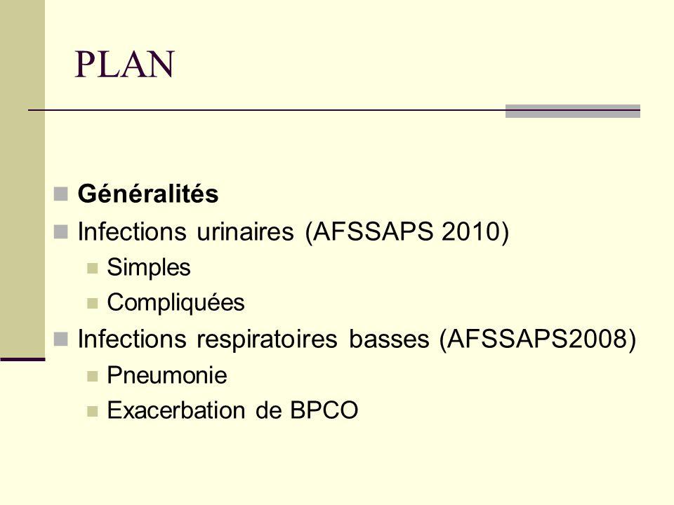 PLAN Généralités Infections urinaires (AFSSAPS 2010) Simples Compliquées Infections respiratoires basses (AFSSAPS2008) Hospitalisation ou non Pneumonie Exacerbation de BPCO