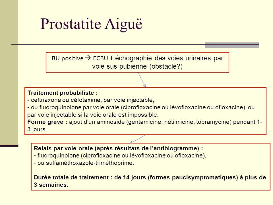 Prostatite Aiguë BU positive ECBU + échographie des voies urinaires par voie sus-pubienne (obstacle?) Traitement probabiliste : - ceftriaxone ou céfot