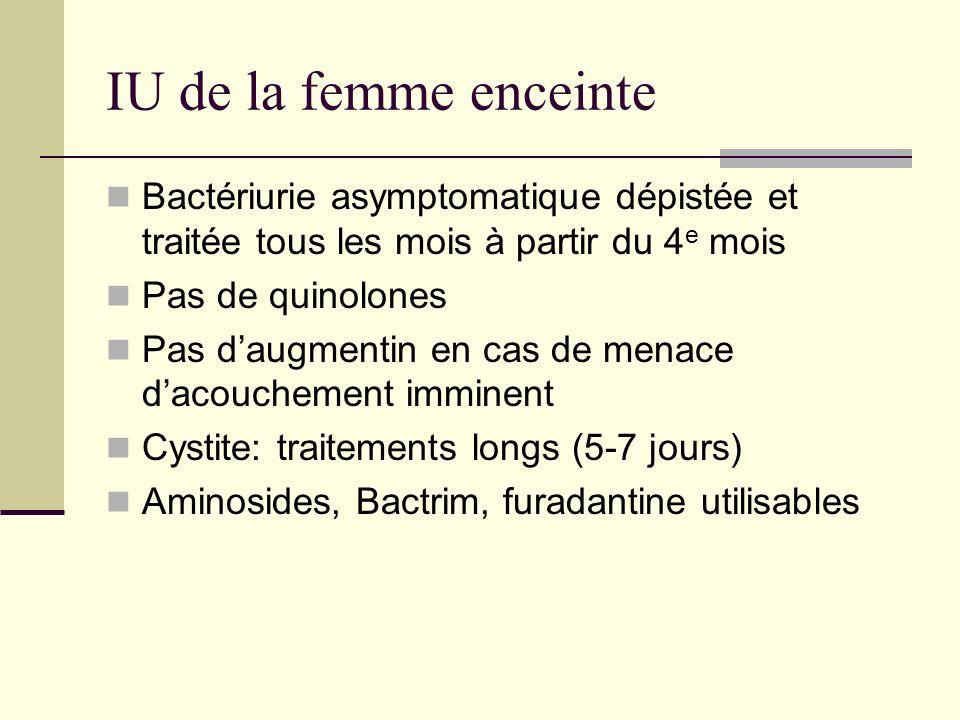 IU de la femme enceinte Bactériurie asymptomatique dépistée et traitée tous les mois à partir du 4 e mois Pas de quinolones Pas daugmentin en cas de m