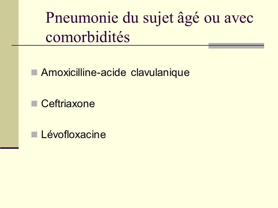 Pneumonie du sujet âgé ou avec comorbidités Amoxicilline-acide clavulanique Ceftriaxone Lévofloxacine