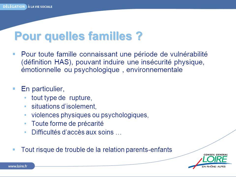 Pour quelles familles ? Pour toute famille connaissant une période de vulnérabilité (définition HAS), pouvant induire une insécurité physique, émotion