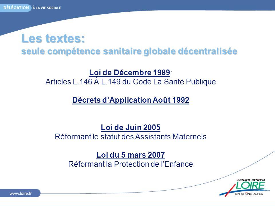 Les textes: seule compétence sanitaire globale décentralisée Loi de Décembre 1989: Articles L.146 À L.149 du Code La Santé Publique Décrets dApplicati