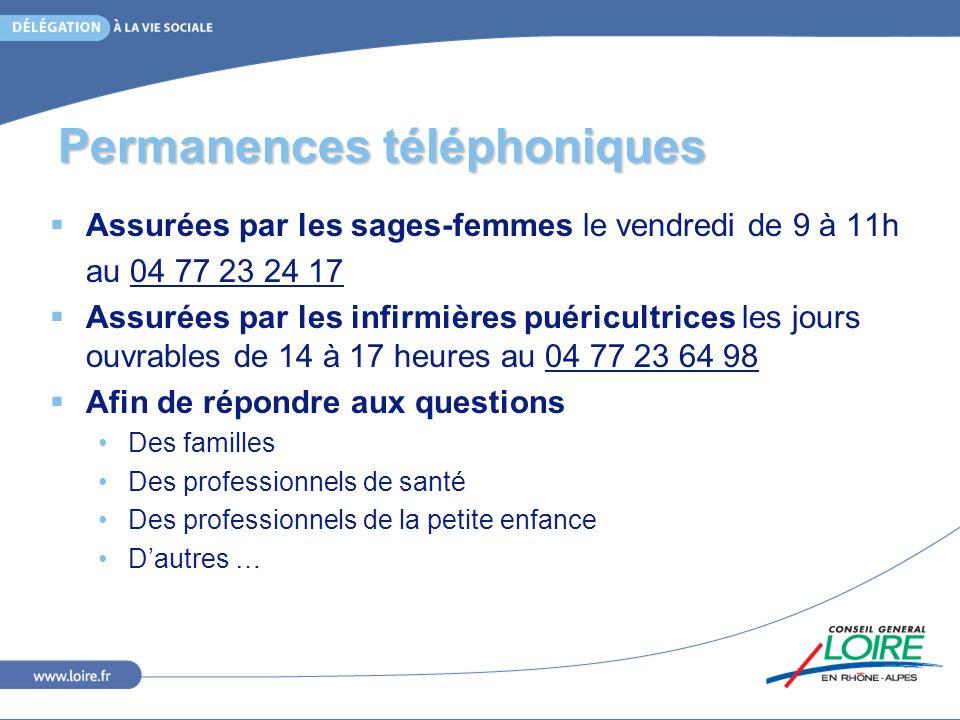 Permanences téléphoniques Assurées par les sages-femmes le vendredi de 9 à 11h au 04 77 23 24 17 Assurées par les infirmières puéricultrices les jours