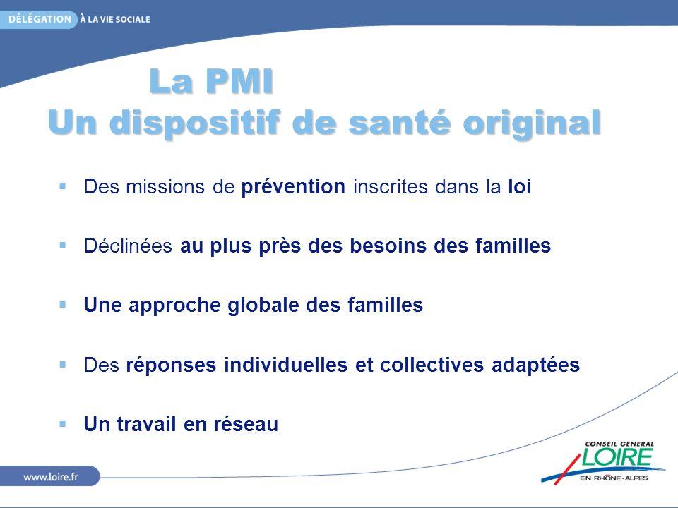 La PMI Un dispositif de santé original Des missions de prévention inscrites dans la loi Déclinées au plus près des besoins des familles Une approche g