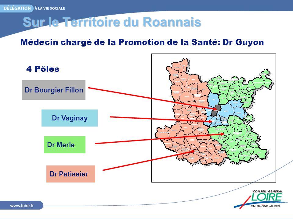 Sur le Territoire du Roannais 4 Pôles Dr Bourgier Fillon Dr Vaginay Dr Merle Dr Patissier Médecin chargé de la Promotion de la Santé: Dr Guyon