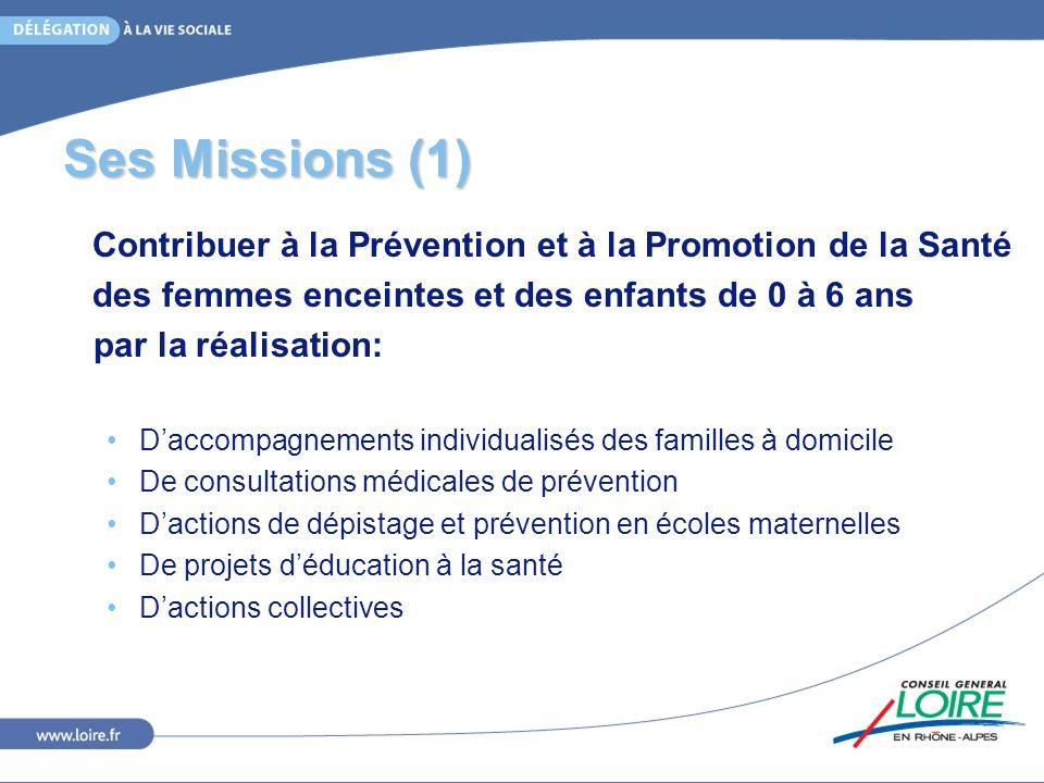 Ses Missions (1) Contribuer à la Prévention et à la Promotion de la Santé des femmes enceintes et des enfants de 0 à 6 ans par la réalisation: Daccomp
