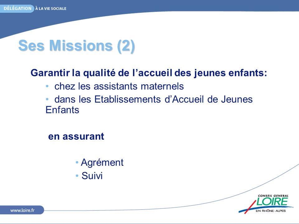 Ses Missions (2) Garantir la qualité de laccueil des jeunes enfants: chez les assistants maternels dans les Etablissements dAccueil de Jeunes Enfants