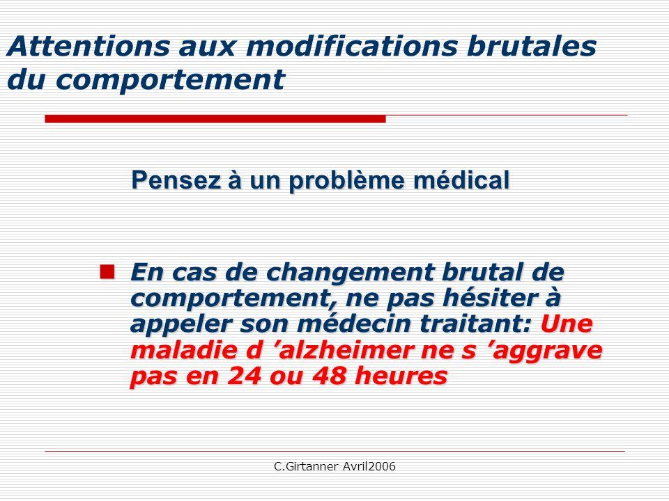C.Girtanner Avril2006 Attentions aux modifications brutales du comportement Pensez à un problème médical En cas de changement brutal de comportement,