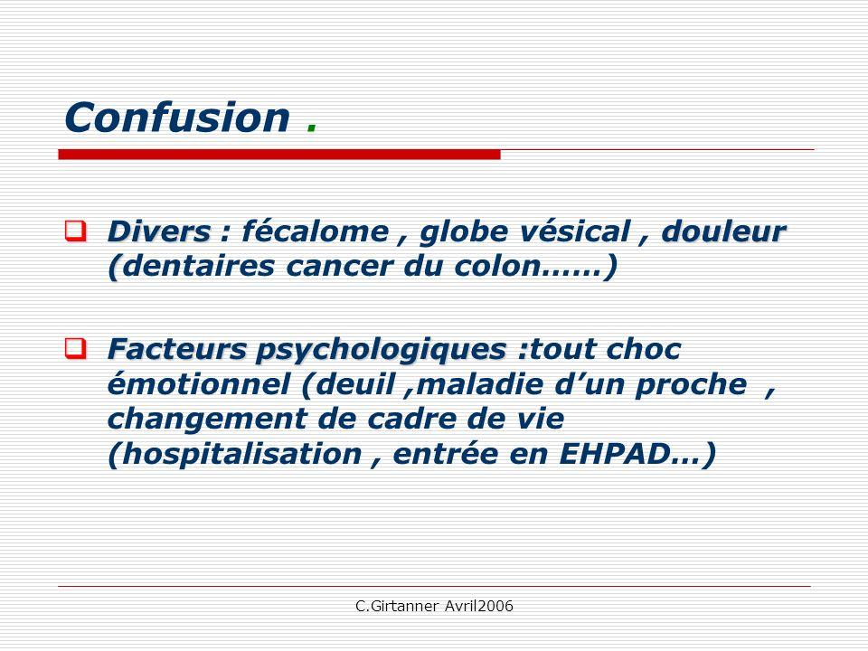 C.Girtanner Avril2006 Confusion. Diversdouleur ( Divers : fécalome, globe vésical, douleur (dentaires cancer du colon……) Facteurs psychologiques : Fac