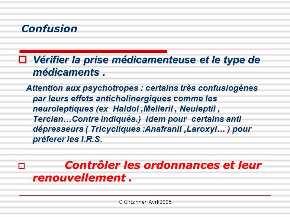 C.Girtanner Avril2006 Confusion Vérifier la prise médicamenteuse et le type de médicaments. Vérifier la prise médicamenteuse et le type de médicaments