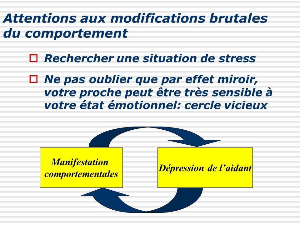 Attentions aux modifications brutales du comportement Rechercher une situation de stress Ne pas oublier que par effet miroir, votre proche peut être t