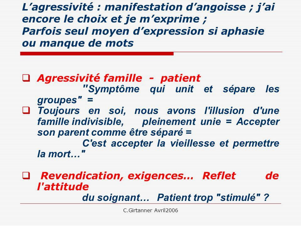 C.Girtanner Avril2006 Lagressivité : manifestation dangoisse ; jai encore le choix et je mexprime ; Parfois seul moyen dexpression si aphasie ou manqu