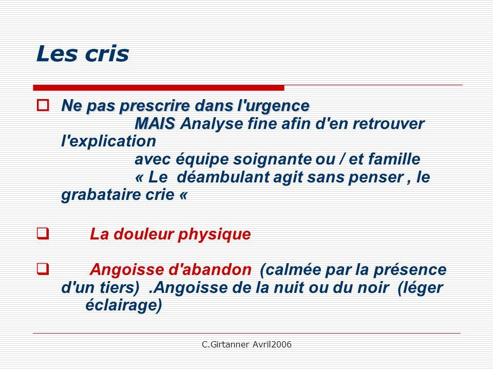 C.Girtanner Avril2006 Les cris Ne pas prescrire dans l'urgence MAIS Ne pas prescrire dans l'urgence MAIS Analyse fine afin d'en retrouver l'explicatio