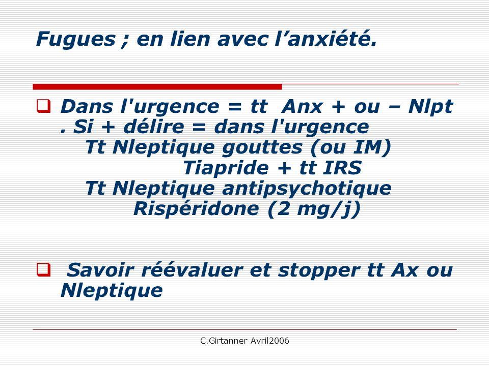 C.Girtanner Avril2006 Fugues ; en lien avec lanxiété. Dans l'urgence = tt Anx + ou – Nlpt. Si + délire = dans l'urgence Tt Nleptique gouttes (ou IM) T