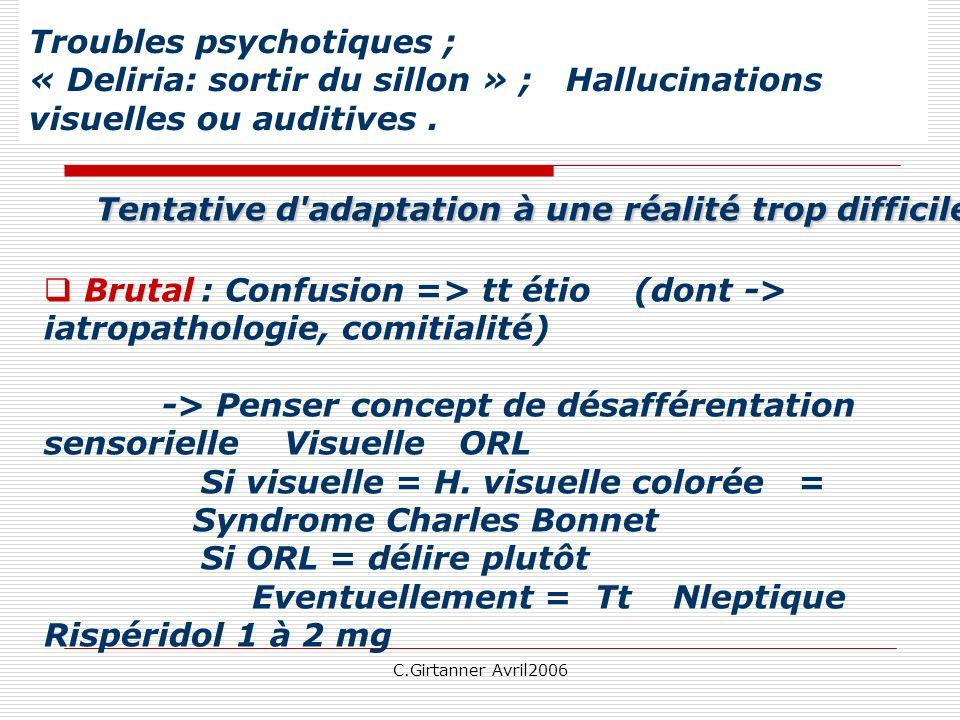 C.Girtanner Avril2006 Troubles psychotiques ; « Deliria: sortir du sillon » ; Hallucinations visuelles ou auditives.
