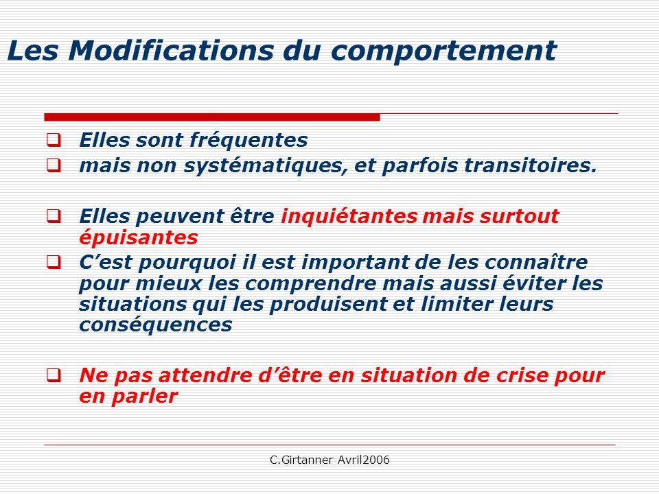 C.Girtanner Avril2006 Les Modifications du comportement Elles sont fréquentes mais non systématiques, et parfois transitoires. Elles peuvent être inqu