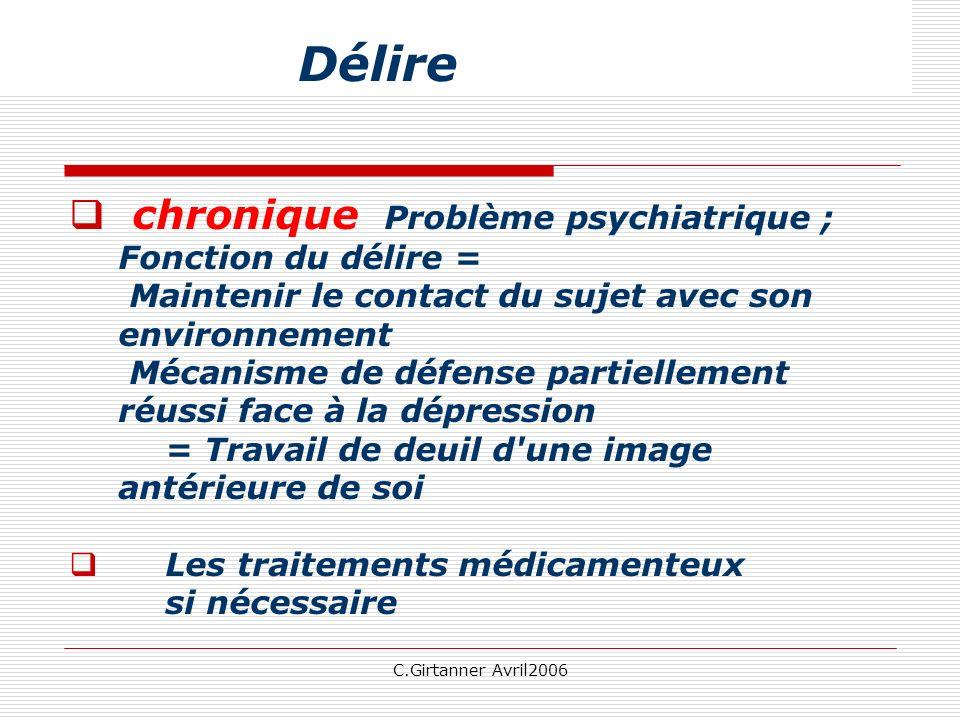 C.Girtanner Avril2006 chronique Problème psychiatrique ; Fonction du délire = Maintenir le contact du sujet avec son environnement Mécanisme de défens