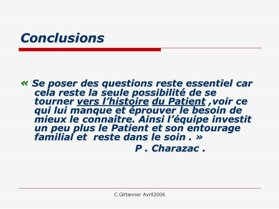 C.Girtanner Avril2006 Conclusions « Se poser des questions reste essentiel car cela reste la seule possibilité de se tourner vers lhistoire du Patient