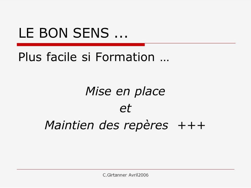 C.Girtanner Avril2006 LE BON SENS... Plus facile si Formation … Mise en place et Maintien des repères +++