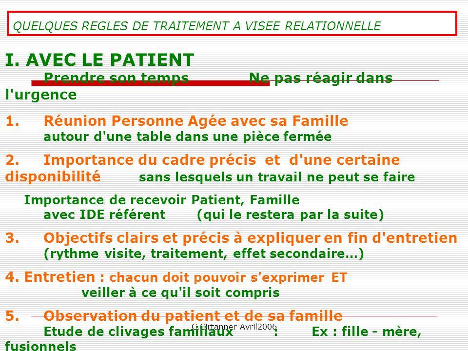 C.Girtanner Avril2006 QUELQUES REGLES DE TRAITEMENT A VISEE RELATIONNELLE I. AVEC LE PATIENT Prendre son temps Ne pas réagir dans l'urgence 1. Réunion