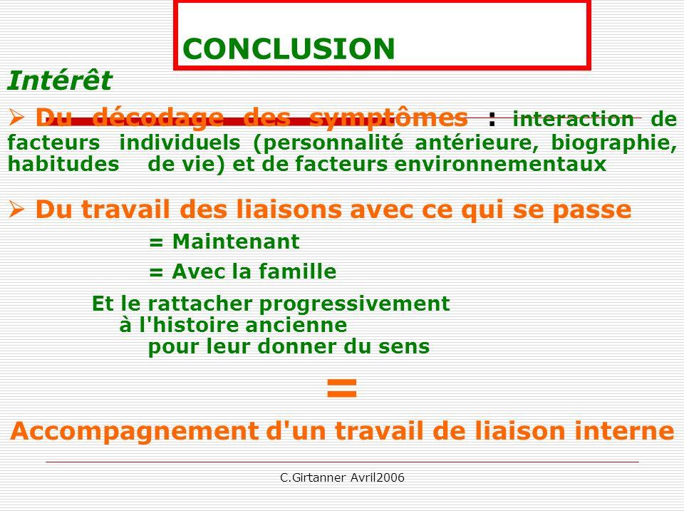 C.Girtanner Avril2006 CONCLUSION Intérêt Du décodage des symptômes : interaction de facteurs individuels (personnalité antérieure, biographie, habitud
